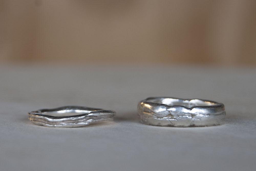 Trouwring gekneed zilver goud