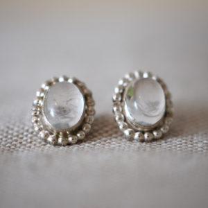 zilveren oorbellen bergkristal en pareldraad vintage klassiek