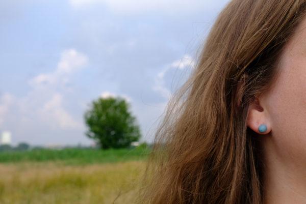 Porseleinen oorknopjes   Blauw