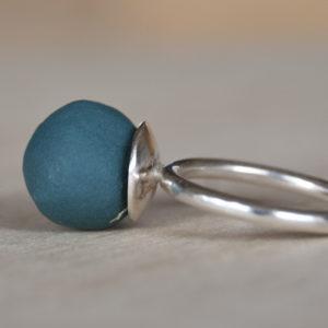 Ring porcelein blauw - groen