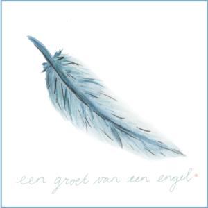 Groet van een engel | Ansichtkaart | 10 x 10 cm | Veldjuwelen