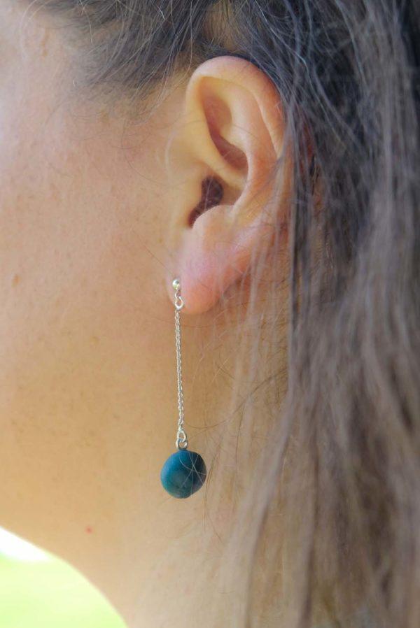 Porceleinen oorhangers | Blauw groen