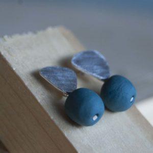 Porseleinen oorstekers | Blauw groen 3