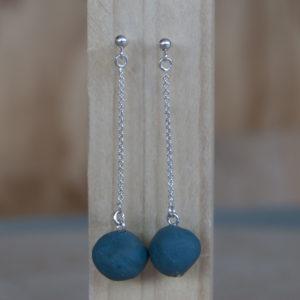 Porseleinen oorhangers _ blauw groen