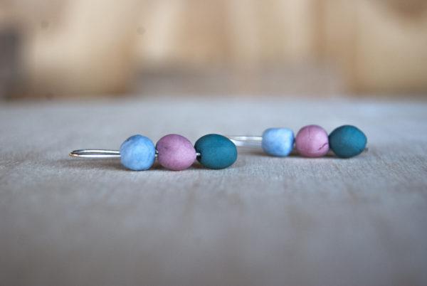 Zilveren oorbellen met drie kleuren porselein