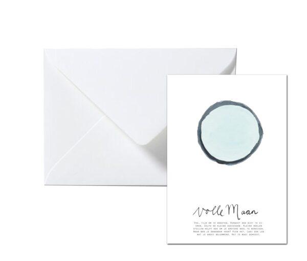 Volle maan kaart met envelop